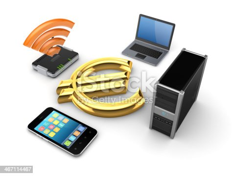 Router,notebook,PC,mobile phone and euro sign.Isolated on white background.3d rendered.