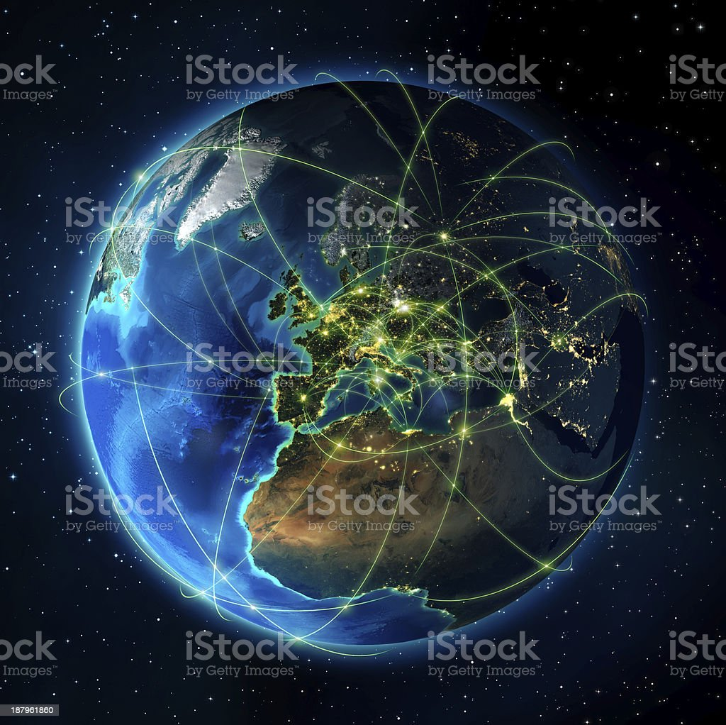 routes of air navigation in Europa 3d rendering, World network, internet..Photorealistic globe with lots of details.  Africa Stock Photo