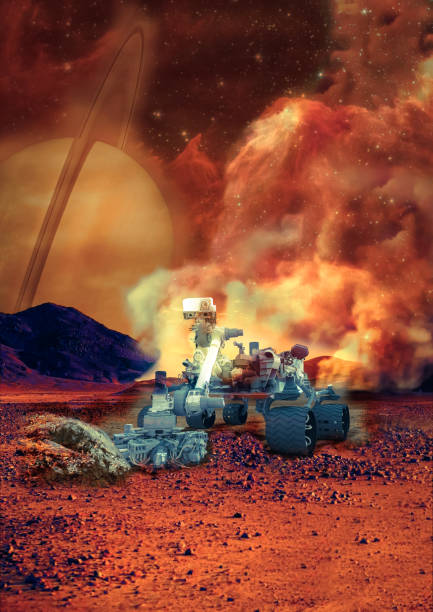 Rover on the Mars. Collage. Elements of this image furnisfurnished by NASA. Rover on the Mars. Collage. Elements of this image furnisfurnished by NASA. rover stock pictures, royalty-free photos & images
