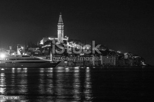 istock Rovinj by night B/N 476197961