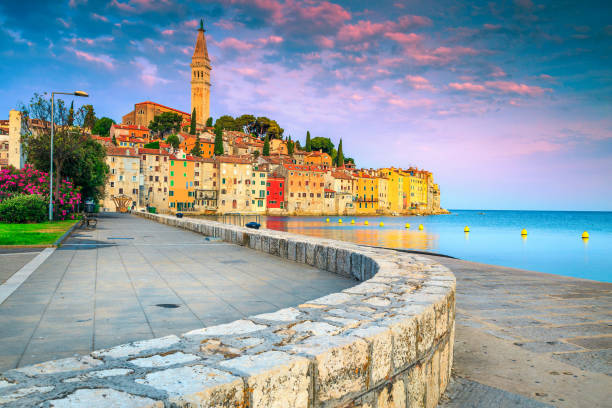 Rovinj harbor and old town with colorful buildings at sunrise stock photo