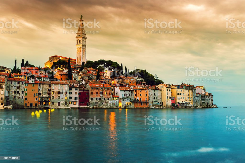 Rovinj old town at night in Adriatic sea stock photo