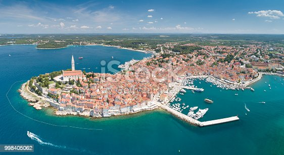 Unique aerial of the beautiful croatian city Rovinj Rovigno located on the western coast of the Istrian peninsula in the north Adriatic Sea. Croatia. Converted from RAW.
