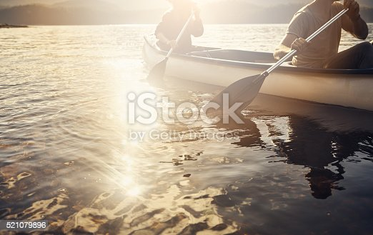 Cropped shot of a couple rowing a boat out on the lake