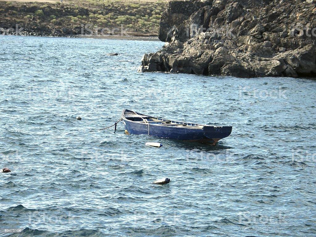 Row boat near the Volcanic Rocky coast royalty-free stock photo