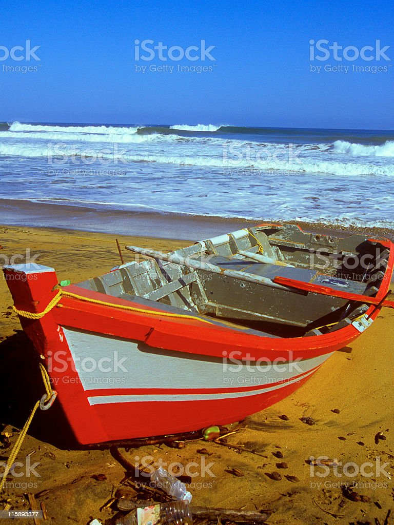 Row Boat on a beach with waves breaking