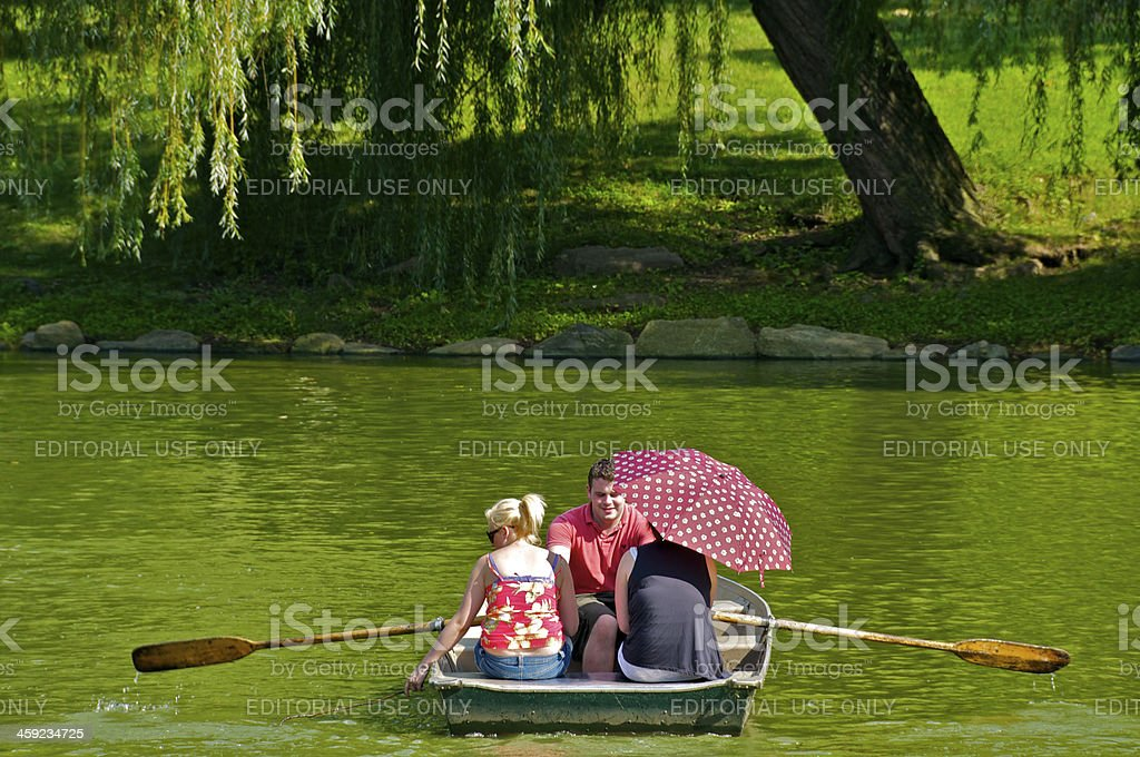 Row Boaters in Central Park, Manhattan, New York City royalty-free stock photo