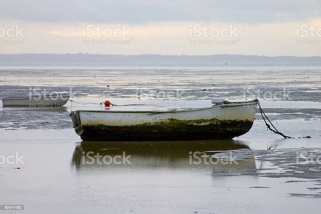 Row boats in early morning royalty-free stock photo
