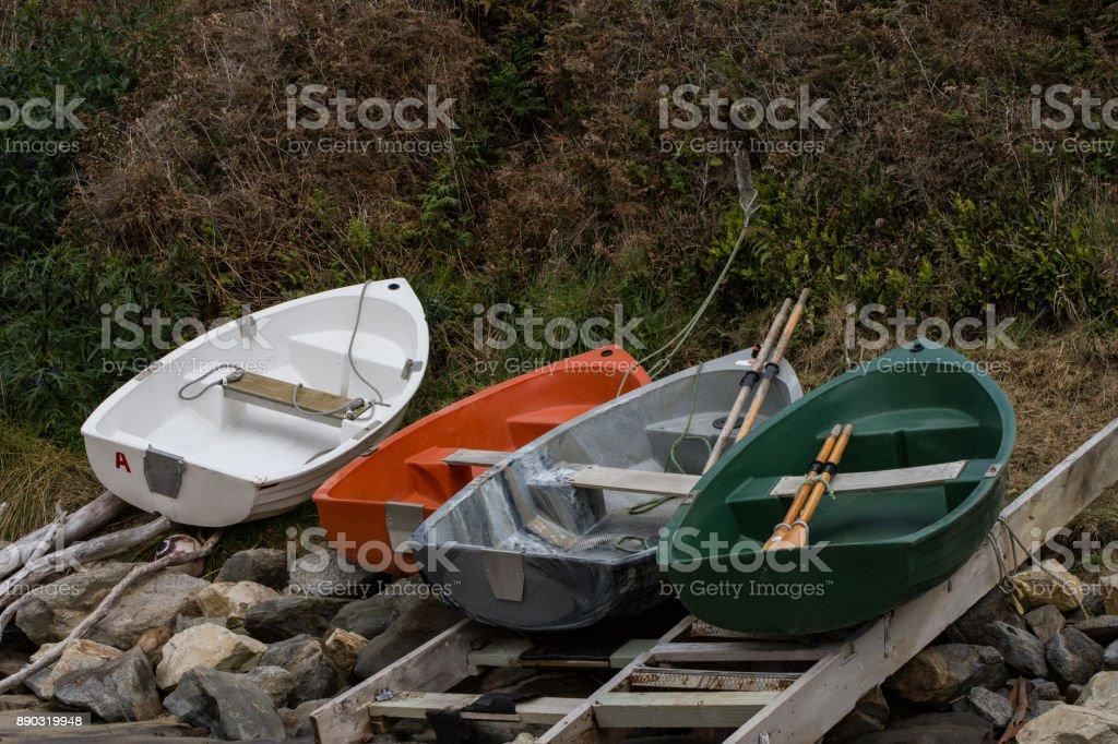 Row boats stock photo