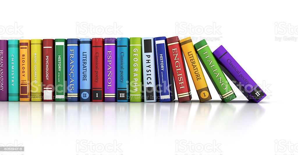 Row books and white background stock photo