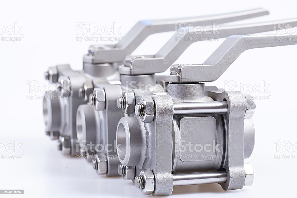 Row from three ball valve stock photo