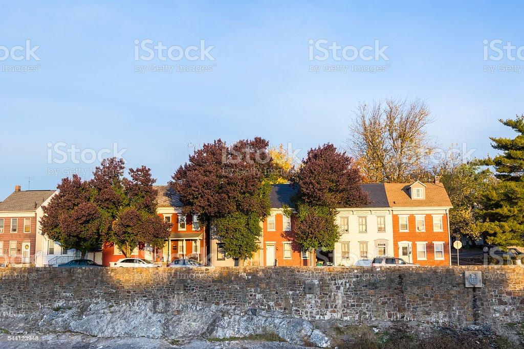 Row Homes along the  Codorus Creek in York, Pennsylvania stock photo