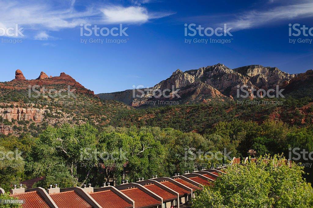 Row homes in Sedona, Arizona stock photo