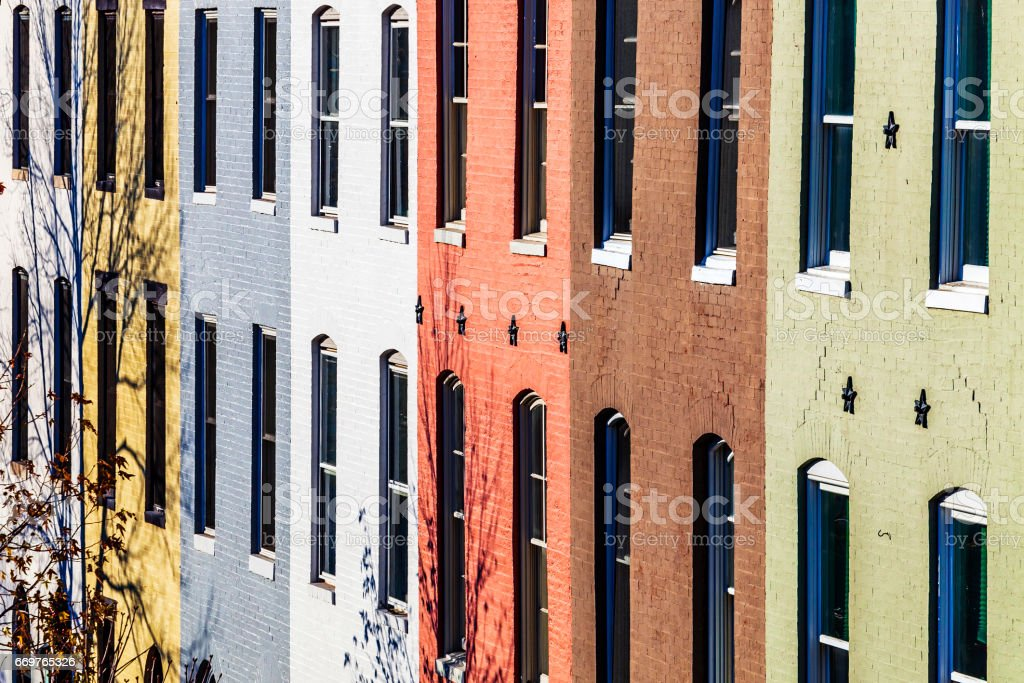 Row house homes - Baltimore, Maryland. stock photo