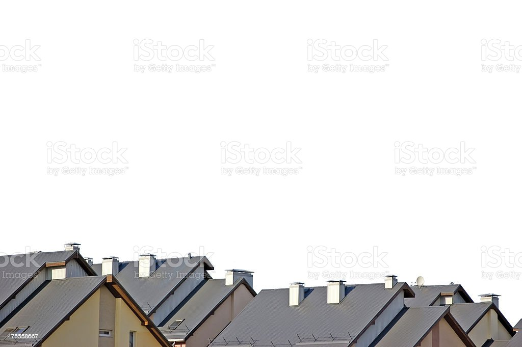 Row house roofs panorama, isolated panoramic bright rooftops, town neighbor stock photo