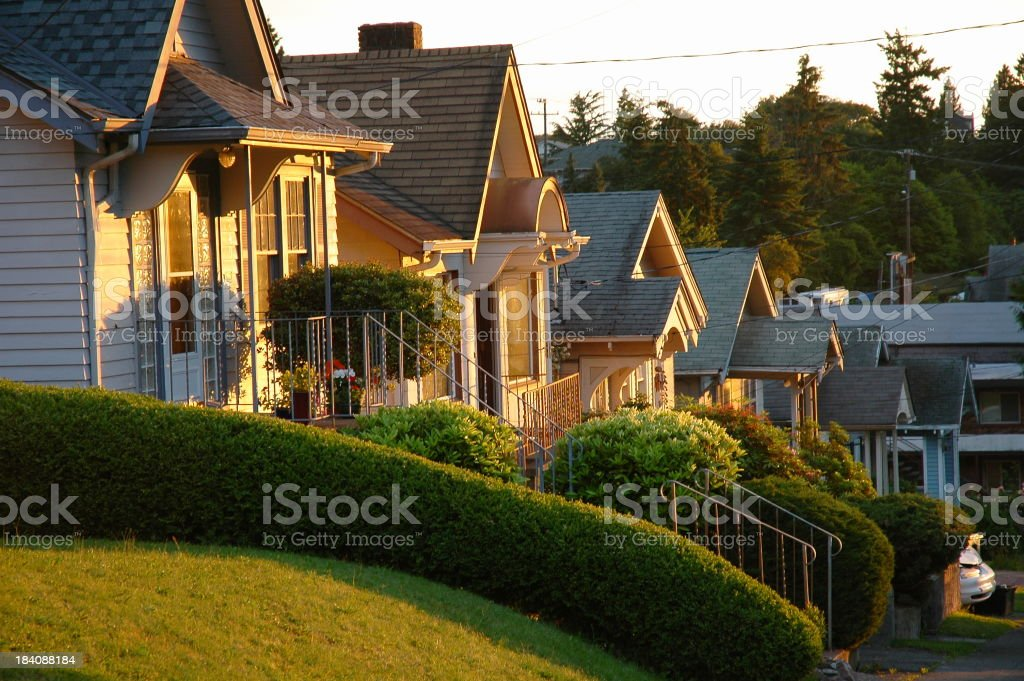 Row Houses at Sunrise stock photo