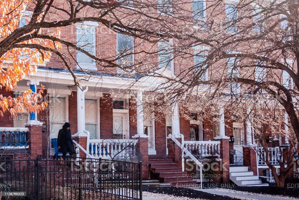Row houses - Charles Village, Baltimore stock photo