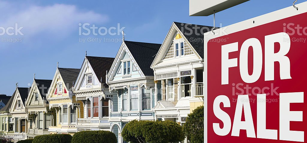 Row houses for sale in San Francisco royalty-free stock photo