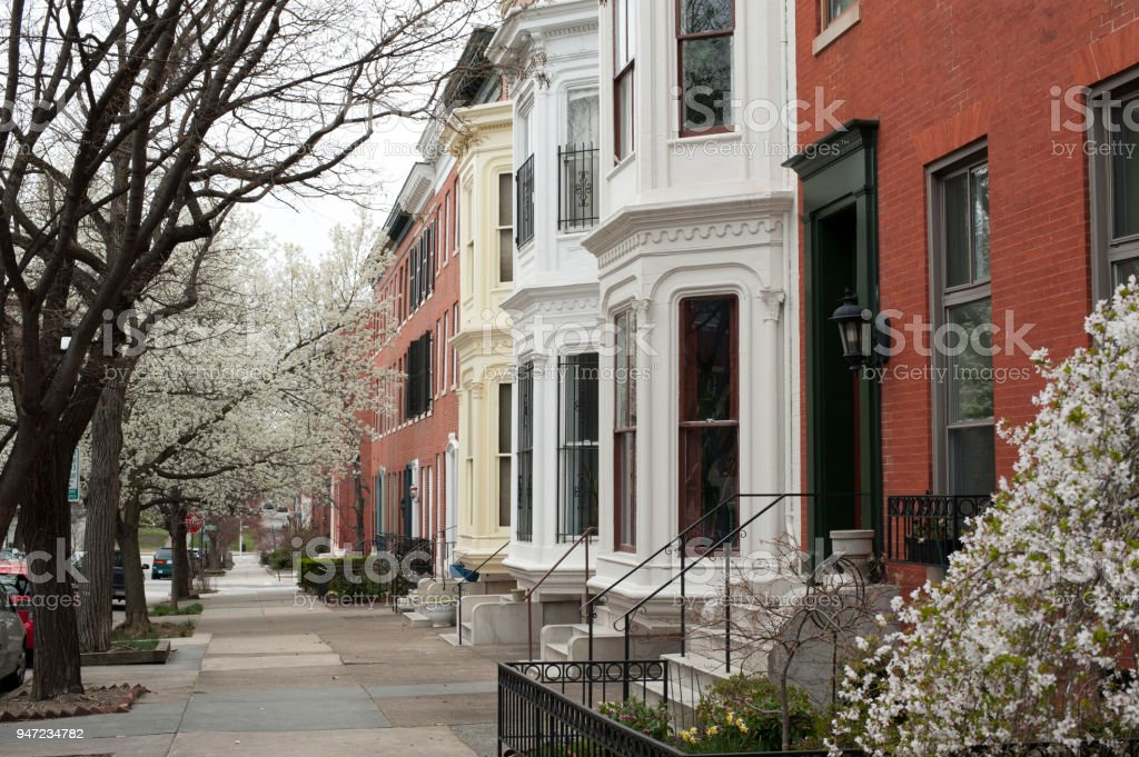 Row Houses in Baltimore stock photo