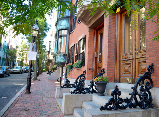 Row houses in Boston stock photo