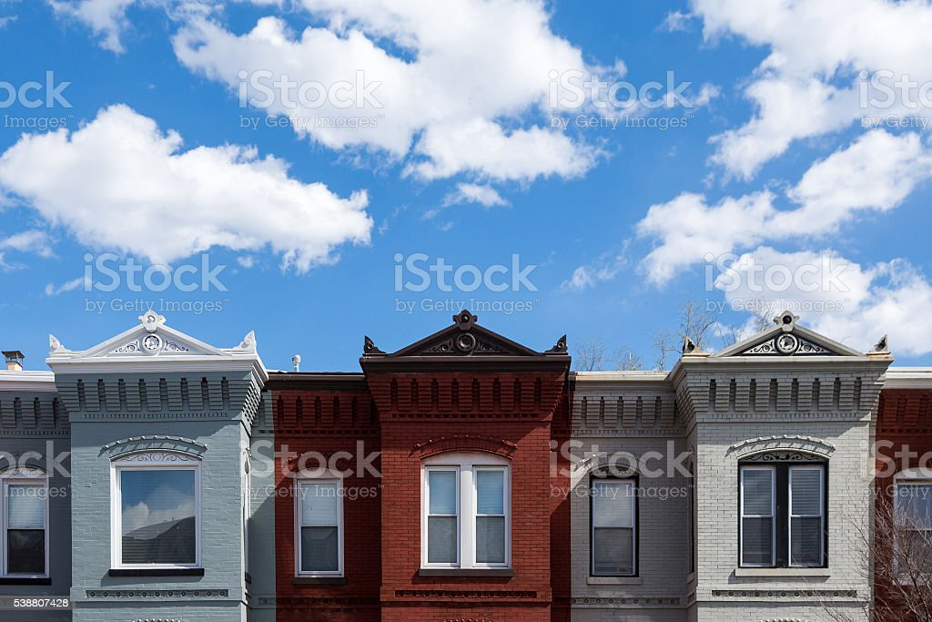 Row houses in Washington DC stock photo