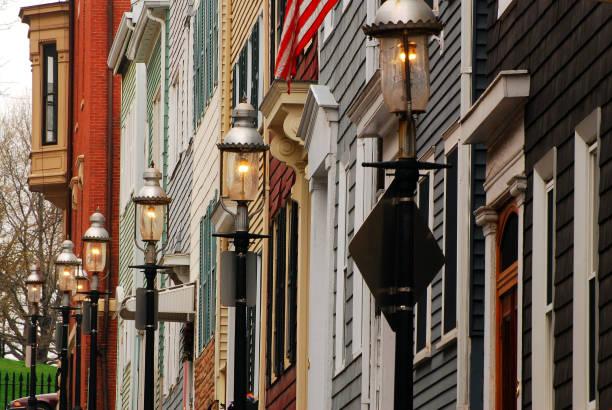 Row houses of Charlestown stock photo