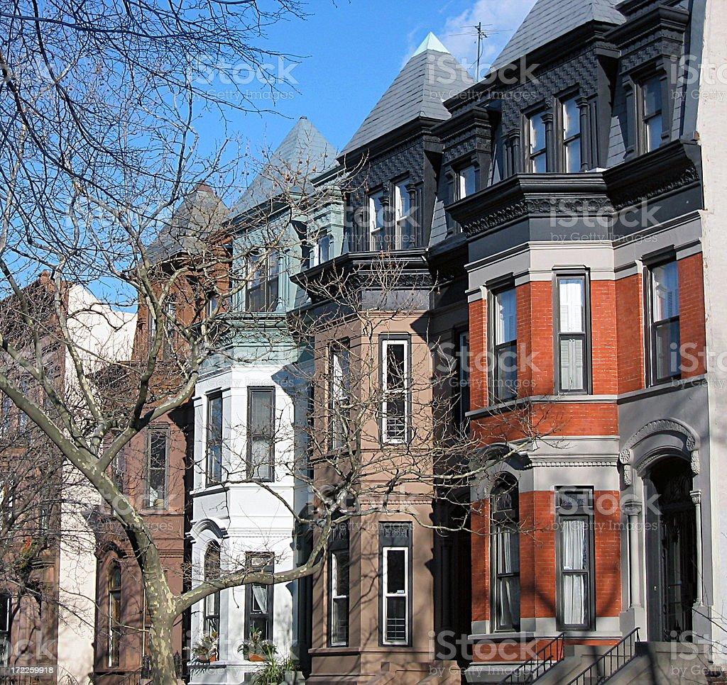 Row houses on a city street royalty-free stock photo