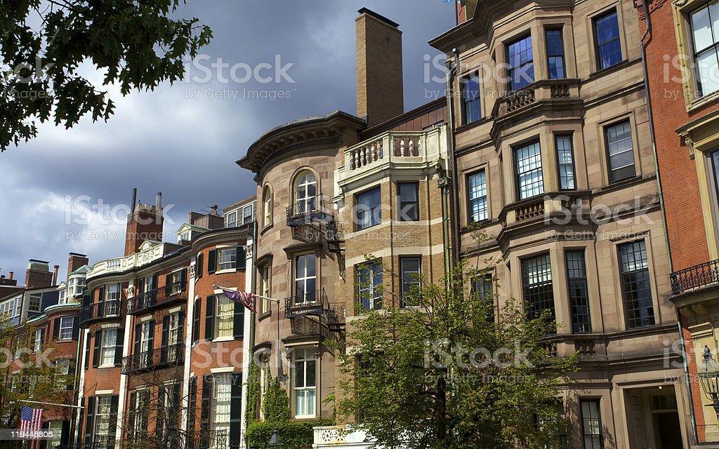 Row Houses on Beacon St in Boston stock photo