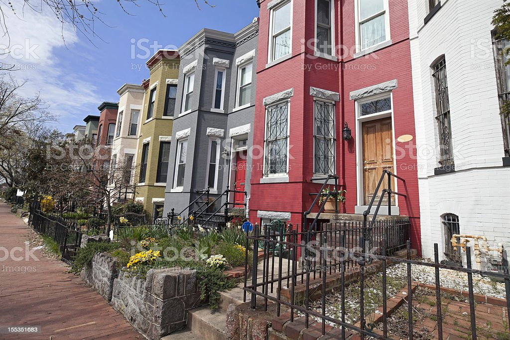 row houses on Capitol Hill washington DC stock photo