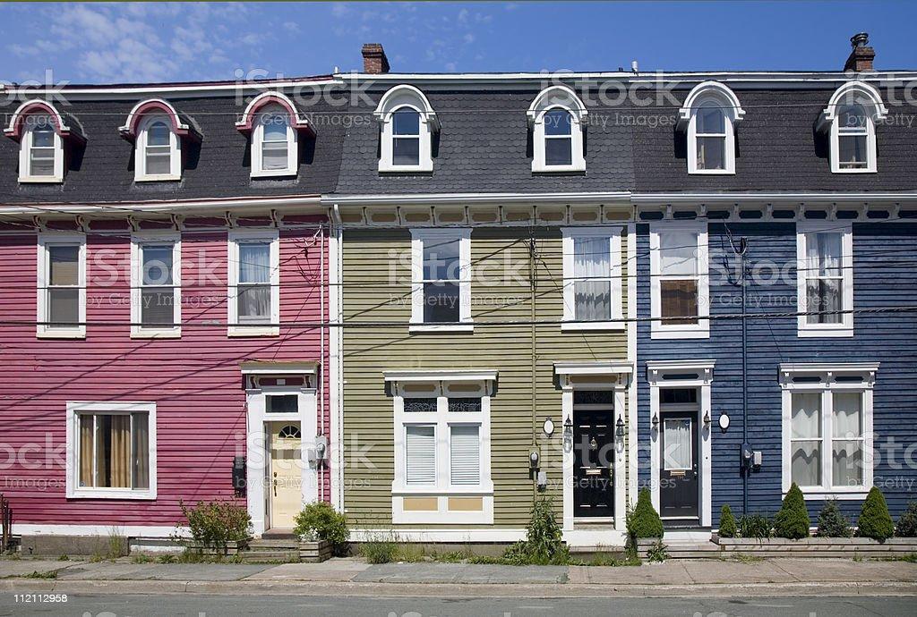 Row Houses, St. John's, Newfoundland royalty-free stock photo