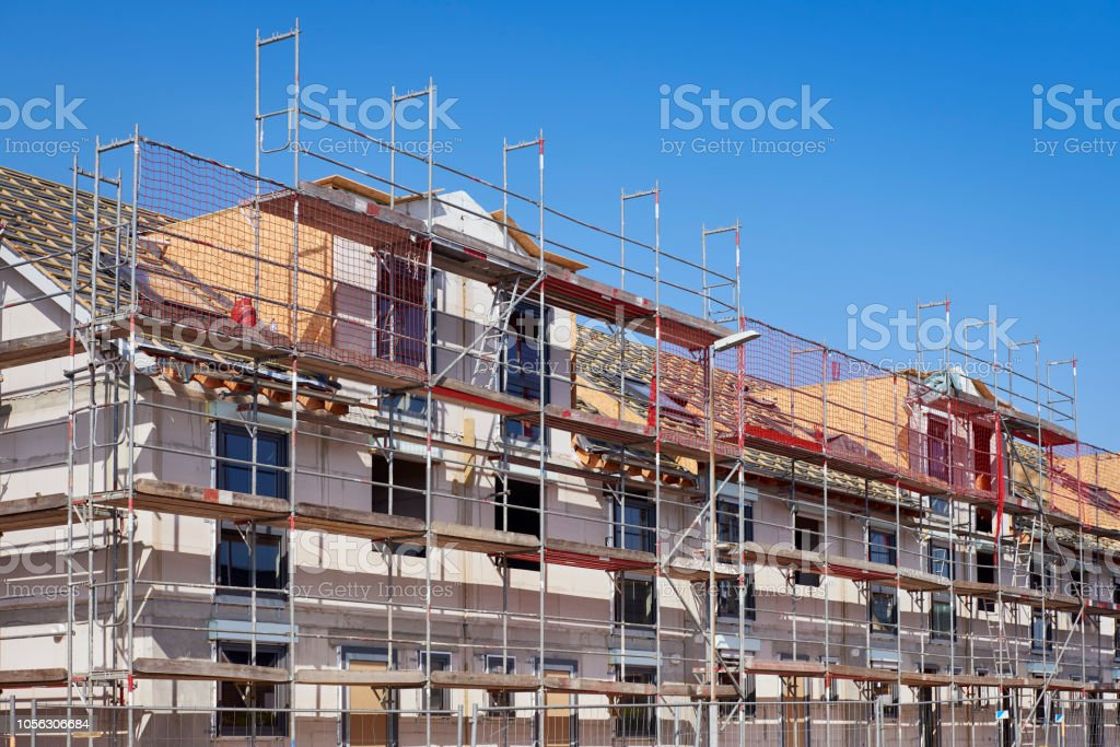 Row houses under construction  / New settlement stock photo