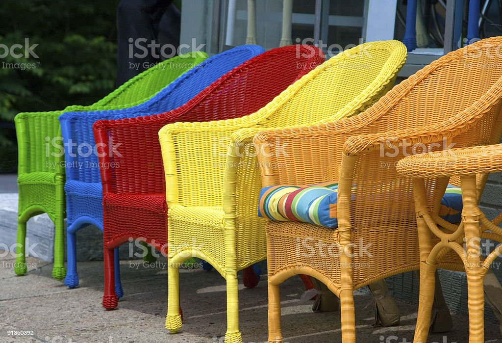 Row Multicolored Outdoor Wicker Chairs Royalty Free Stock Photo