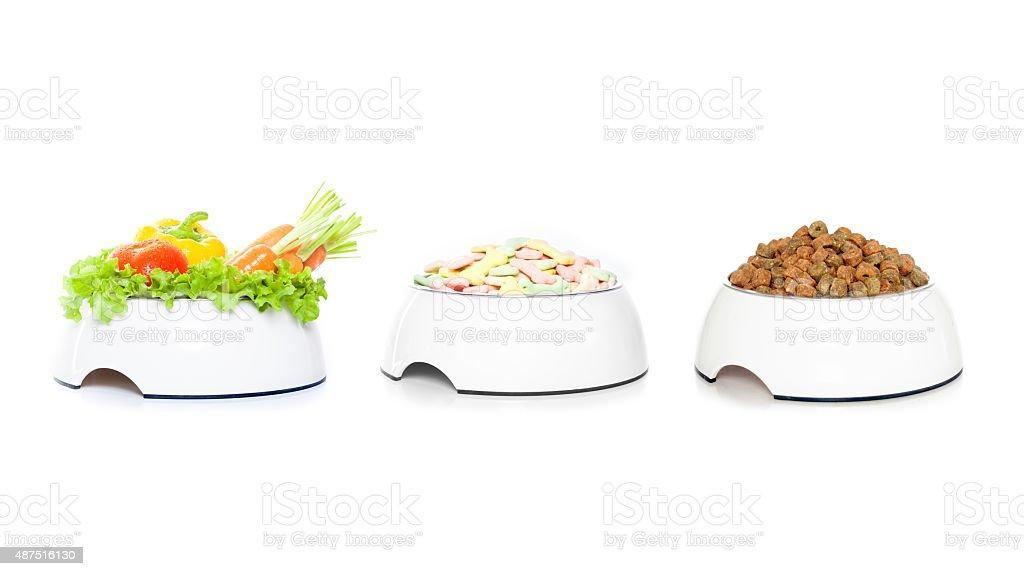 row of  3 pet food bowls stock photo
