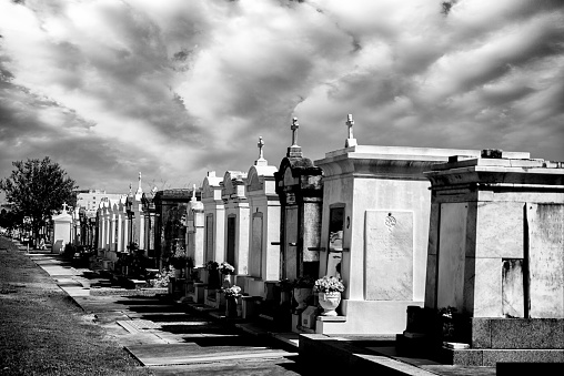 Row of Above Ground Mausoleum Graves in New Orleans