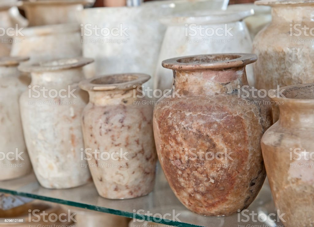 Row Of Alabaster Vases At An Egyptian Market Stock Photo More