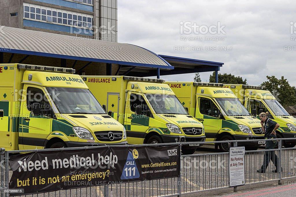 row of Ambulances at Southend hospital. stock photo