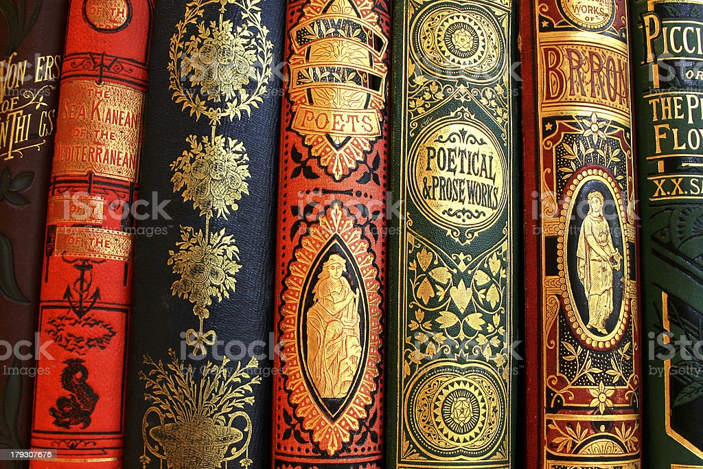 Row of antiquarian books royalty-free stock photo