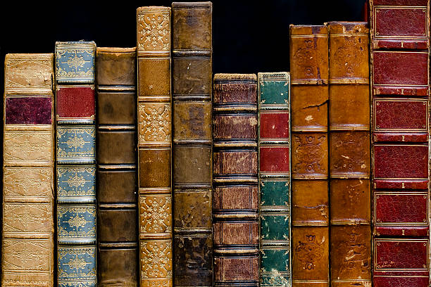Row of Antique Books A row of antique books dating from 1838 to1894Bound in leatherBlank Spines literature stock pictures, royalty-free photos & images