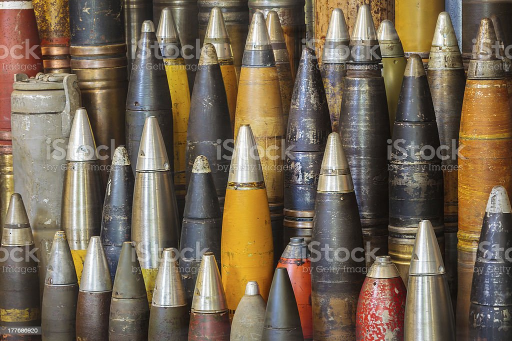 Row of antique world war two bombs stock photo