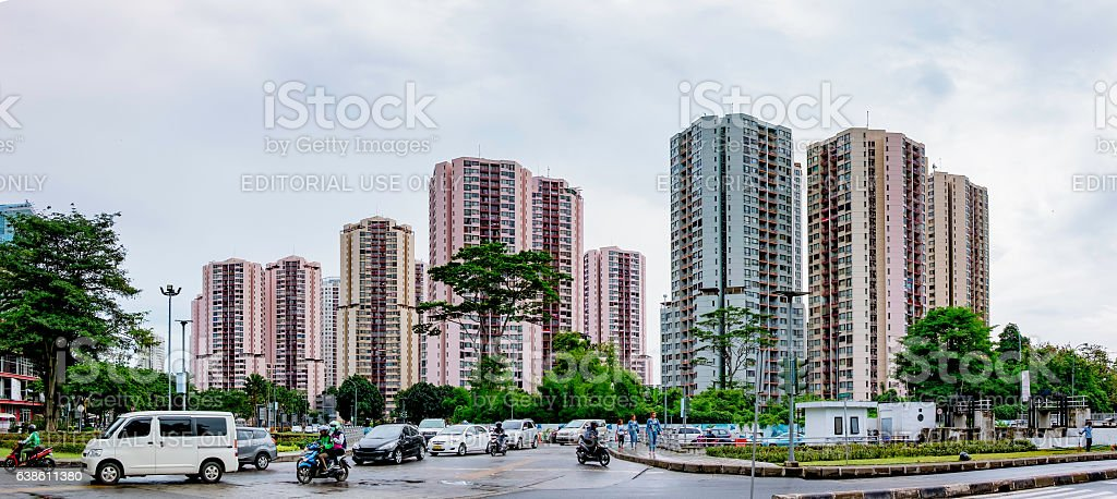 Row of apartement housing in Jakarta stock photo