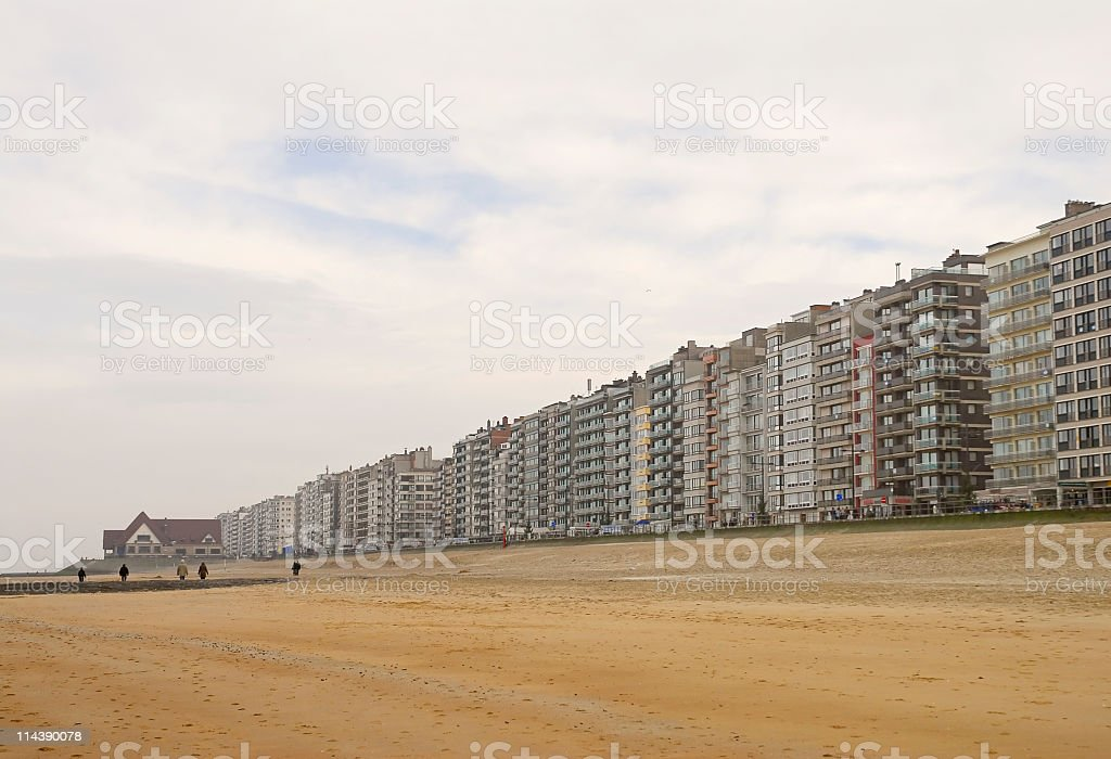 Row of apartment buildings along the Belgian coast stock photo