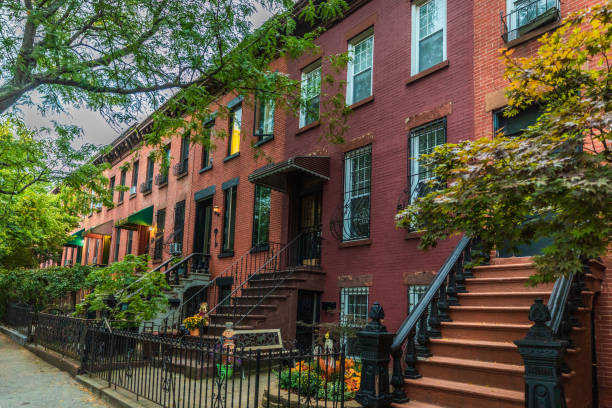 Row of apartments in Brooklyn stock photo