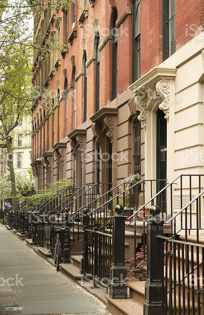 Row of apartments in Greenwich Village, NYC stock photo