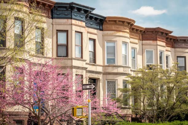 Row of Apartments in Kensington, Brooklyn stock photo