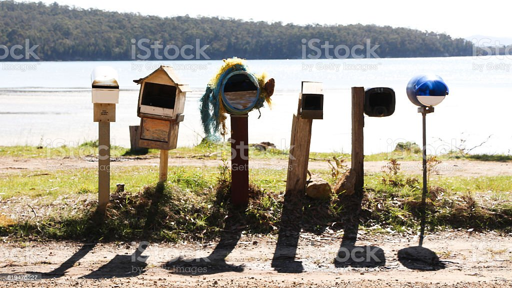 Row of Backwoods Letterboxes stock photo