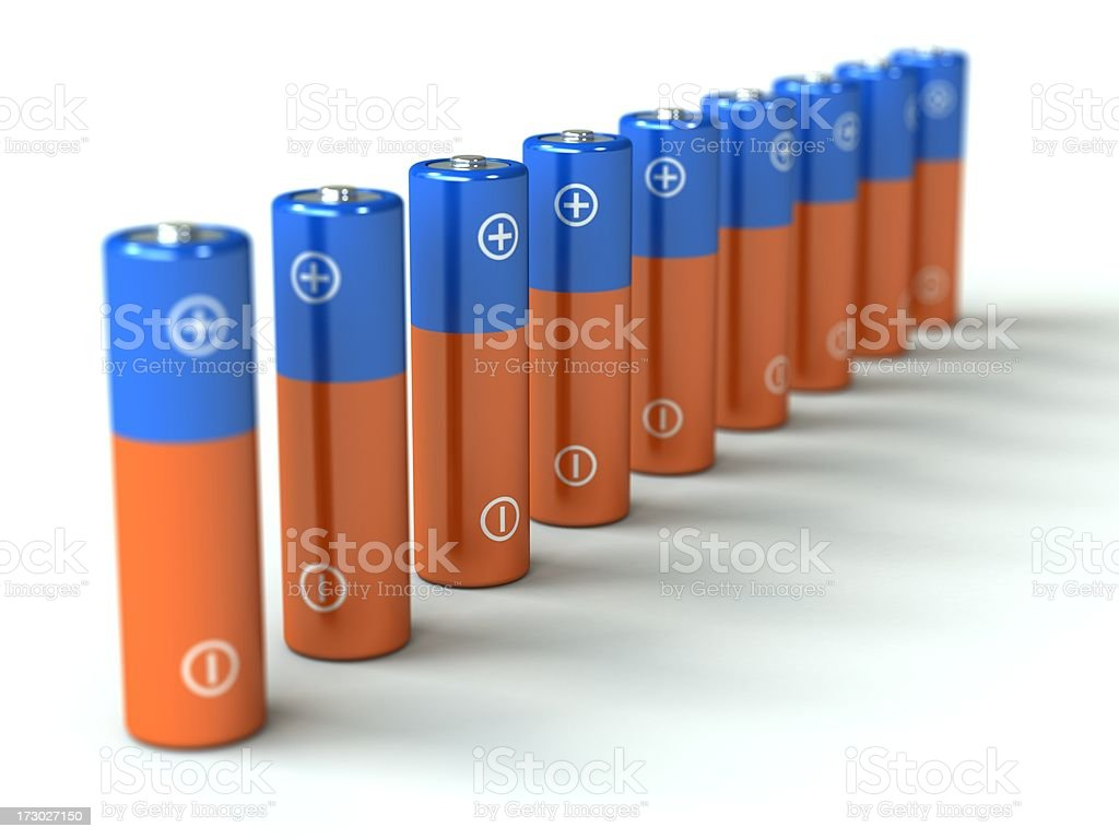 Row of batteries royalty-free stock photo