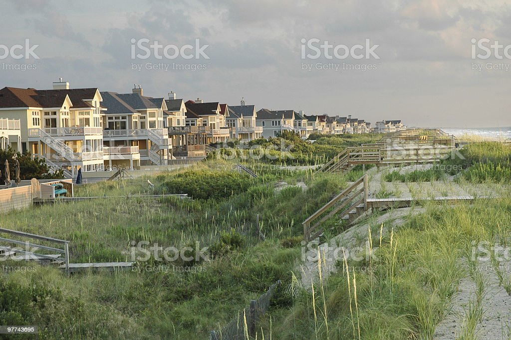 Row of beach houses on the outer banks stock photo