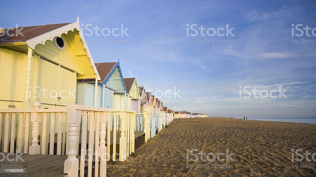 Row of beach huts stock photo