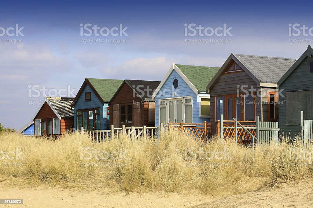 Row of Beach Huts stock photo