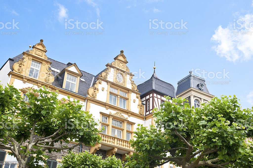 Row of beautiful restored mansions royalty-free stock photo